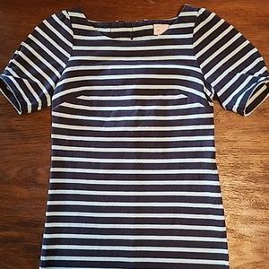 Anthropologie striped cotton dress triple bows XS